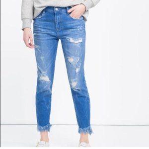 Zara Trafaluc Skinny Distressed Frayed Hem Jean